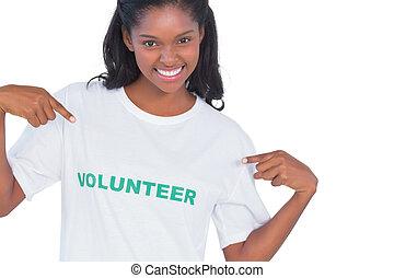 身に着けていること, 微笑の 女性, 若い, ボランティア