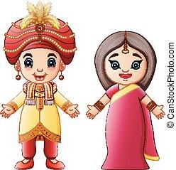 身に着けていること, 恋人, 衣装, 伝統的である, indian, 漫画