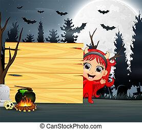 身に着けていること, 悪魔, ハロウィーンの衣装, 女の子, 漫画, 赤