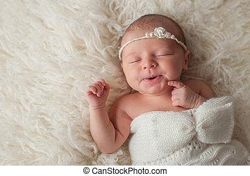 身に着けていること, 新生, 編まれる, 女の赤ん坊, 白, ボンネット