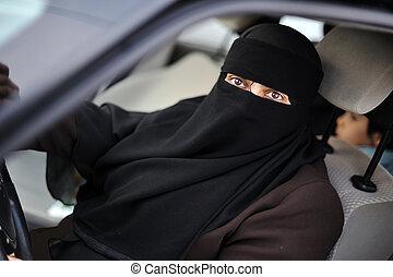 身に着けていること, 東, muslim, 運転手, 中央, 女性, ベール