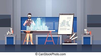 身に着けていること, 概念, オフィス, 家, 現代, vr, エンジニア, 都市, バーチャルリアリティ, デジタル, 内部, 3d, 青写真, フルである, ヘッドホン, モデリング, 横, 人, 建物, 長さ, 建築家, モデル, ビジョン, ガラス