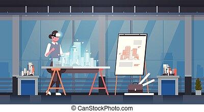 身に着けていること, 概念, オフィス, 家, 現代, vr, フルである, エンジニア, 都市, バーチャルリアリティ, デジタル, 内部, 3d, 青写真, 女, ヘッドホン, モデリング, 横, 建物, 長さ, 建築家, モデル, ビジョン, ガラス