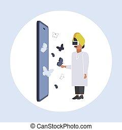身に着けていること, 概念, vr, フルである, アラビア, 技術, ヘッドホン, 飛行, バーチャルリアリティ, デジタル, 蝶, 平ら, smartphone, スクリーン, アラビア人, 感動的である, 人, 長さ, ビジネスマン, ビジョン, ガラス