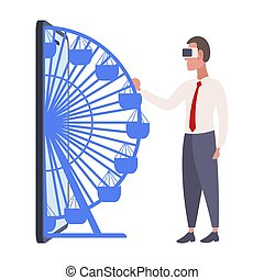 身に着けていること, 概念, vr, フルである, 技術, ヘッドホン, バーチャルリアリティ, フェリス, デジタル, 車輪, 平ら, smartphone, ビジネス, スクリーン, イラスト, 人, からまる, 長さ, ベクトル, ビジネスマン, ビジョン, ガラス