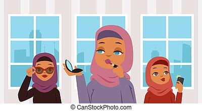 身に着けていること, 構造, 鏡。, 口紅, room., 写真, selfie, muslim, 特徴, アラビア人...