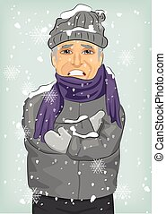 身に着けていること, 毛織りである, 冬, 氷結, ジャケット, 寒い, 帽子, シニア, スカーフ, 人