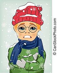 身に着けていること, 男の子, わずかしか, 冬, 毛織りである, 氷結, ジャケット, 寒い, 帽子, スカーフ