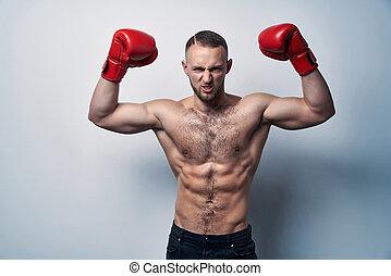 身に着けていること, 箱, 上げられた, shirtless, 筋肉, 手袋, 手, 人
