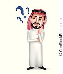 身に着けていること, 考え, 特徴, 混乱させられた, アラビア人, thobe, ベクトル, サウジアラビア人, 顔の 表現, ∥あるいは∥, 人