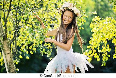 身に着けていること, 花, 若い 女の子, 帽子, すてきである