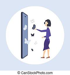 身に着けていること, 蝶, 女, フルである, ヘッドホン, 飛行, スクリーン, 概念, vr, バーチャルリアリティ, 長さ, smartphone, 平ら, デジタル, 女の子, 感動的である, 技術, ビジョン, ガラス