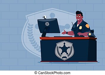 身に着けていること, 警官, オフィス, 仕事, 警官, 上に, アメリカ人, ユニフォーム, 監視, コンピュータ, ...