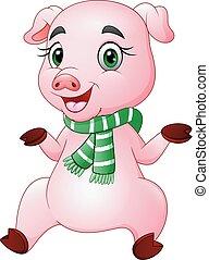 身に着けていること, 豚, 緑, 漫画, スカーフ, 幸せ