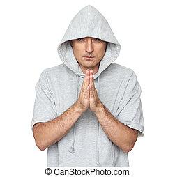 身に着けていること, 隔離された, hoodie, 白, ハンサム, 人