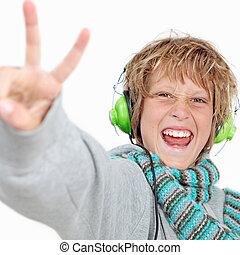 身に着けていること, headphones., 印, 音楽が聞く, v, 子供, 幸せ