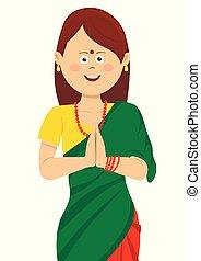 身に着けていること, saree, 女, 彼女, 一緒に, 伝統的である, 美しい, indian, 手を持つ