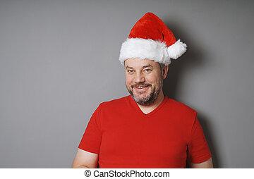 身に着けていること, tシャツ, 中央, santa, 年を取った, 帽子, 赤, 人