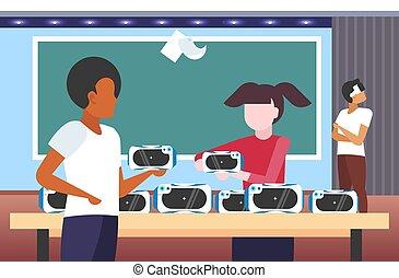 身に着けているヘッドホーン, 概念, 人々, 生徒, テスト, 現代, バーチャルリアリティ, vr, ゴーグル, 平ら, 教室, デジタル, 内部, 肖像画, 横, 3d, 技術, ビジョン, ガラス