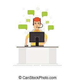 身に着けているヘッドホーン, 概念, flat., 中心, サービス, アイコン, オフィス。, サポート, -, ...