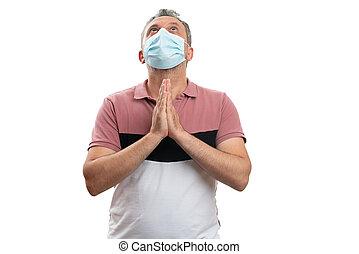 身に着けているマスク, 人, 外科, ∥あるいは∥, 医学, 祈ること, 概念, 信頼