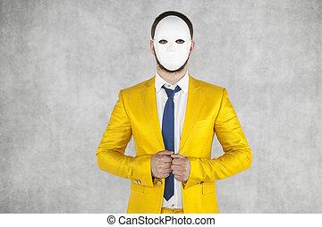 身に着けているマスク, 未知, 人, 肖像画, 人