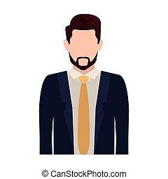 身体, 人, 侧面影象, 领带, 一半