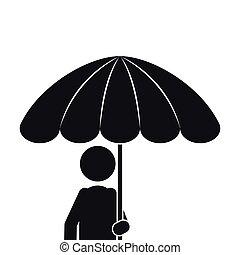 身体, 伞, 一半, 单色, 侧面影象, 人