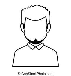 身体, 侧面影象, 一半, 面临, 人, 胡子