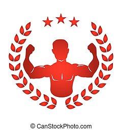 身体, 侧面影象, 离开, 王冠, 一半, 肌肉, 红, 人