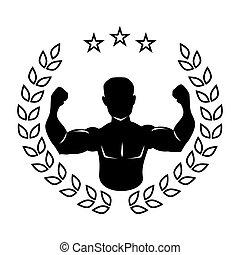 身体, 侧面影象, 离开, 王冠, 黑色, 一半, 肌肉人