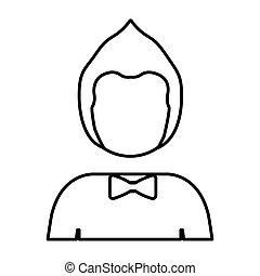 身体, 发型, 人, 侧面影象, 一半