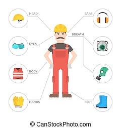 身体, 套间, 工业, 齿轮, 工人, 工厂, 描述, 设备, 保护, 矢量, 人, 安全, clothing.,...