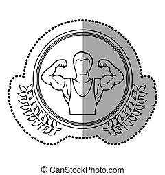 身体, 屠夫, 王冠, 中间, 一半, 橄榄, 单色, 遮蔽, 肌肉, 环绕, 人