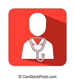 身体, 广场, 侧面影象, 医生, 按钮, 男性的一半