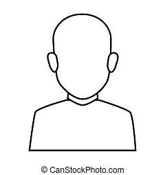 身体, 浅黑型, 侧面影象, 秃头, 一半, 面临, 人