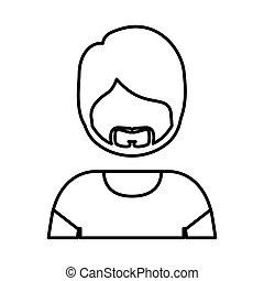 身体, 胡子, 侧面影象, 人, 一半