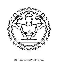 身体, 邮票, 标签, 一半, 肌肉, 轮廓, 人