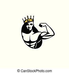 身体, illustration., 王冠, 矢量, 一半, 标识语, 肌肉, 最小