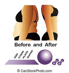 身體, 健身, 瑜伽, 以前, 以後, 婦女的
