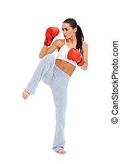 身體, 充分, 射擊, 拳擊手, 女性, 踢