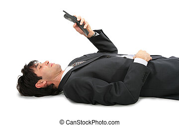 躺在后面上, 商人, 由于, 電話