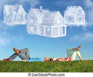 躺, 夫婦, 上, 草, 以及, 夢想, 三, 雲, 房子, 拼貼藝術