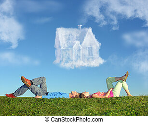 躺, 夫婦, 上, 草, 以及, 夢房子, 拼貼藝術