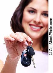 車の女性, keys.