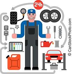 車修理, サービス, アイコン