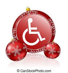 車椅子, クリスマス, アイコン