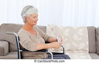 車椅子, シニア, 丸薬