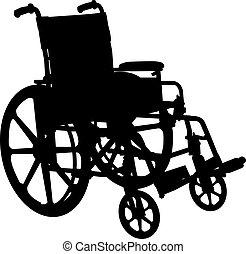 車椅子, シルエット, 隔離された, 白