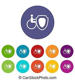 車椅子, セット, 安全, 保護, アイコン